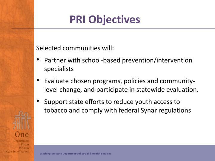 PRI Objectives