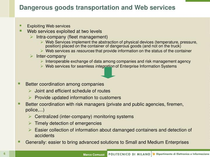 Dangerous goods transportation and Web services