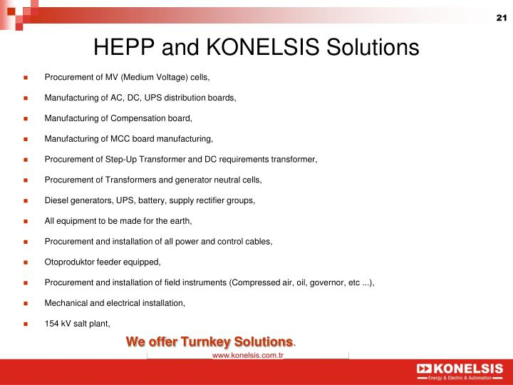 HEPP and KONELSIS Solutions