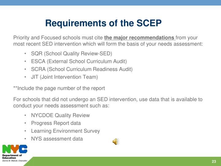 Requirements of the SCEP