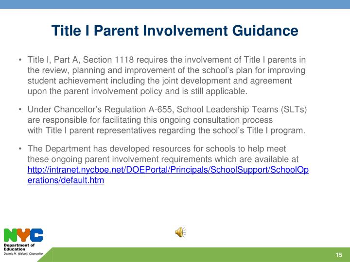 Title I Parent Involvement Guidance