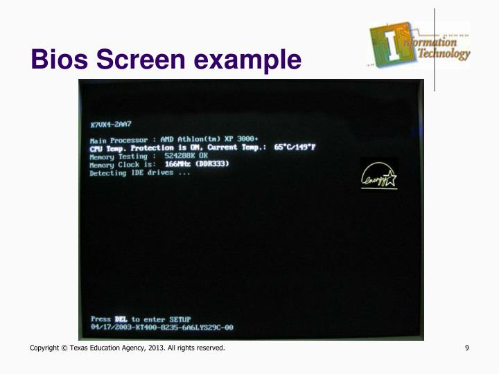 Bios Screen example