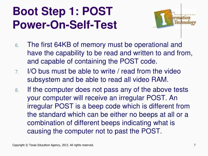 Boot Step 1: POST