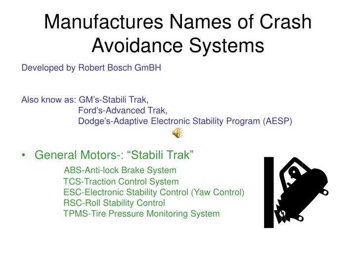 Manufactures Names of Crash Avoidance Systems