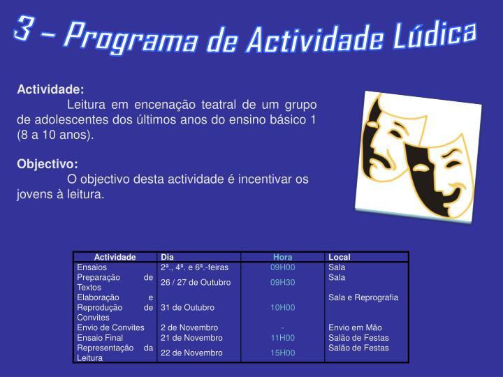 3 – Programa de Actividade Lúdica