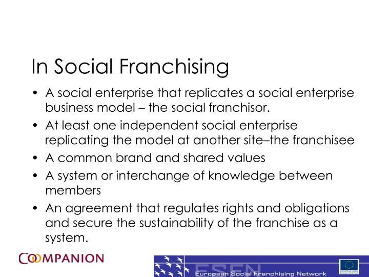 In Social Franchising