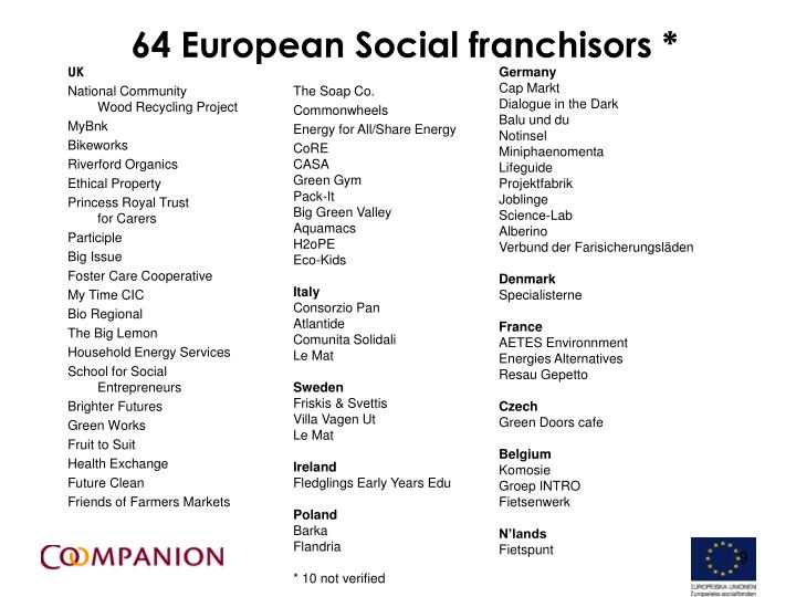 64 European Social franchisors *