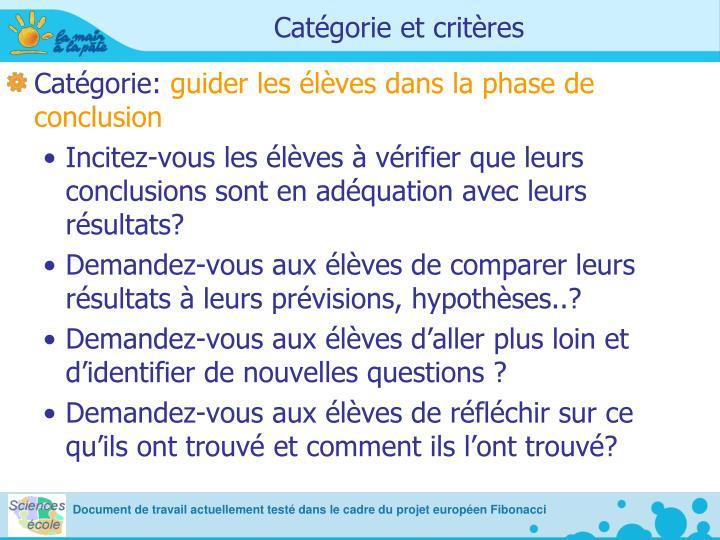 Catégorie et critères
