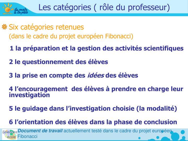 Les catégories ( rôle du professeur)
