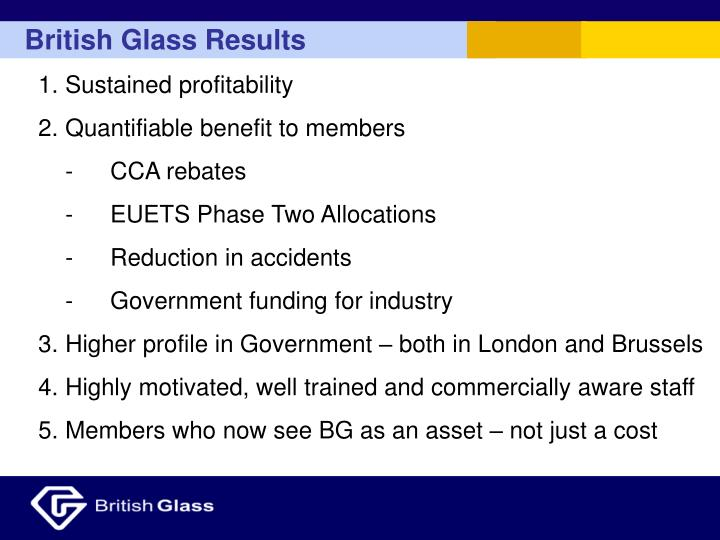 British Glass Results