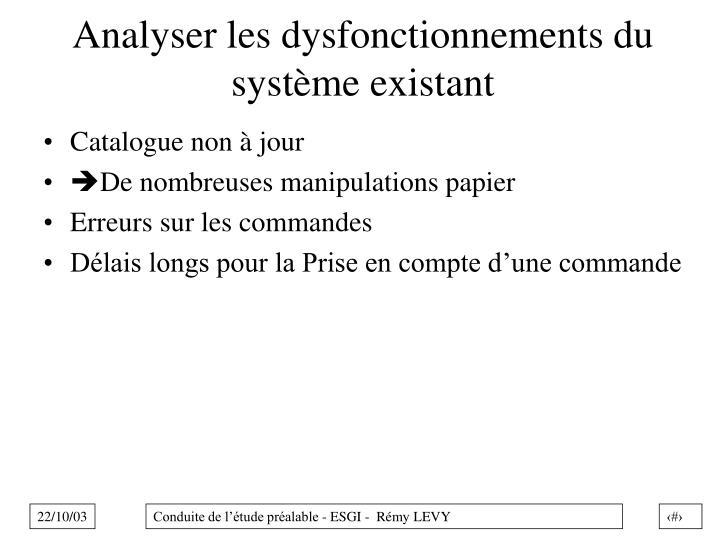 Analyser les dysfonctionnements du système existant