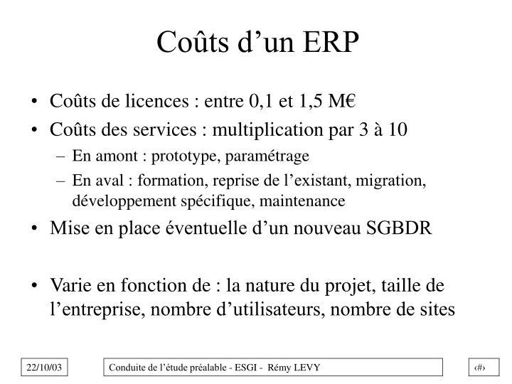 Coûts d'un ERP