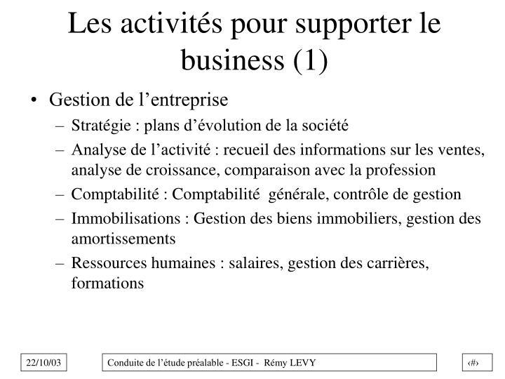 Les activités pour supporter le business (1)