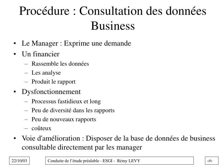 Procédure : Consultation des données Business