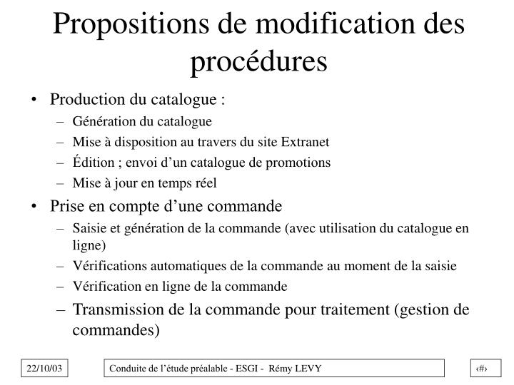 Propositions de modification des procédures