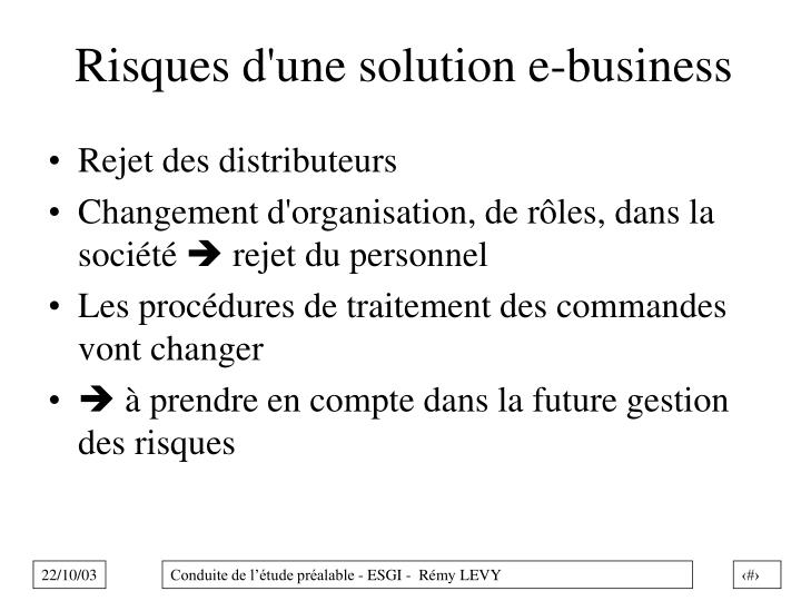 Risques d'une solution e-business