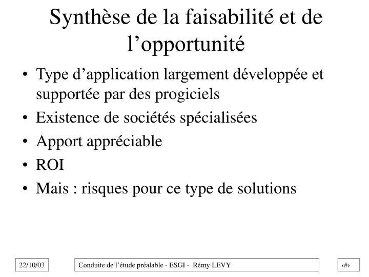 Synthèse de la faisabilité et de l'opportunité