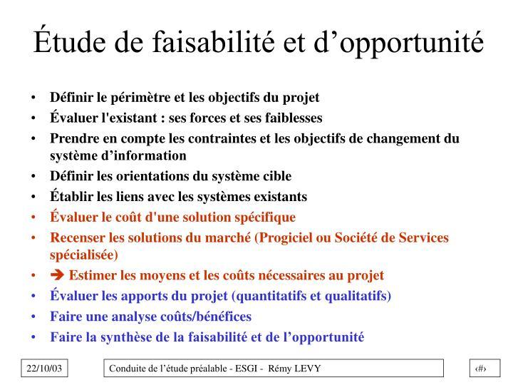 Étude de faisabilité et d'opportunité