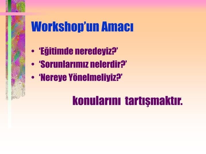 Workshop'un Amacı