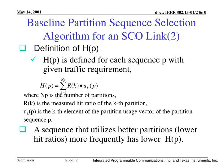 Baseline Partition Sequence Selection Algorithm for an SCO Link(2)