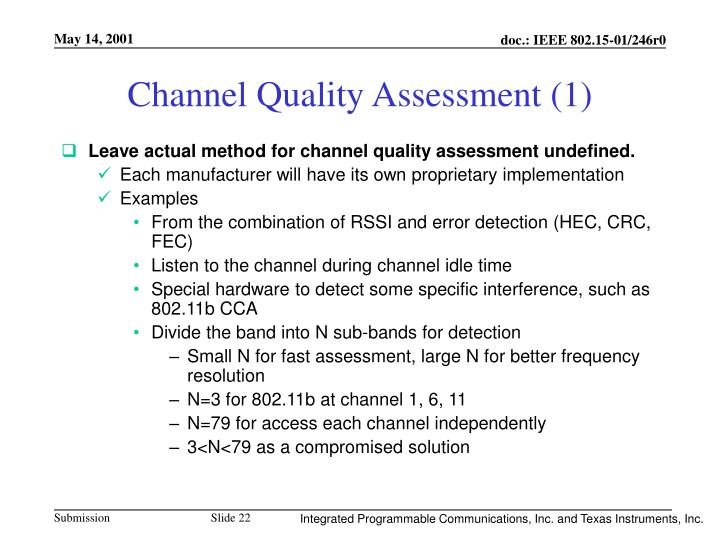 Channel Quality Assessment (1)