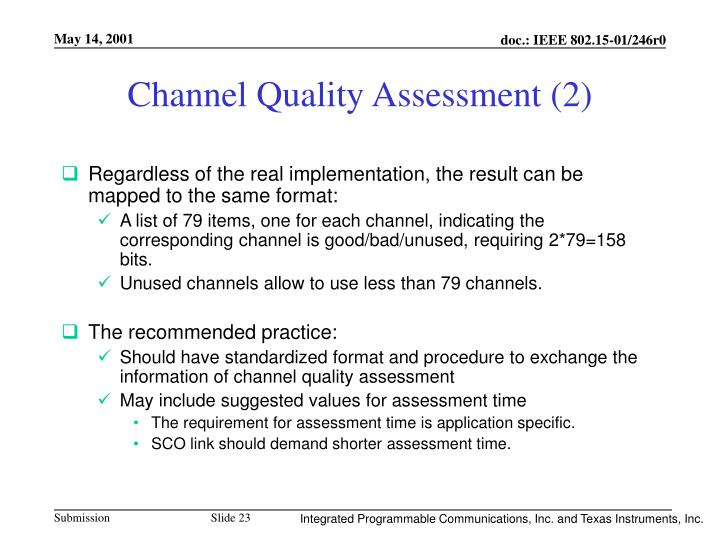 Channel Quality Assessment (2)
