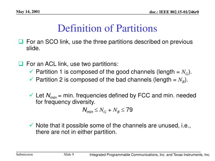 Definition of Partitions