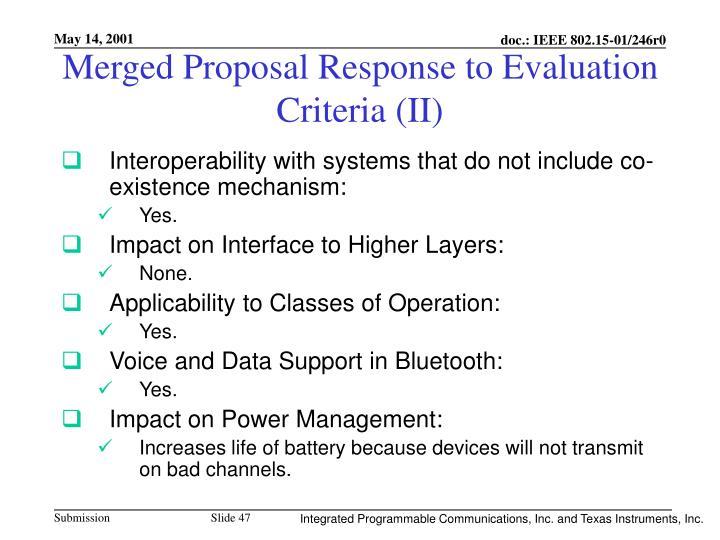 Merged Proposal Response to Evaluation Criteria (II)