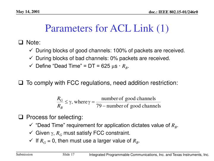 Parameters for ACL Link (1)