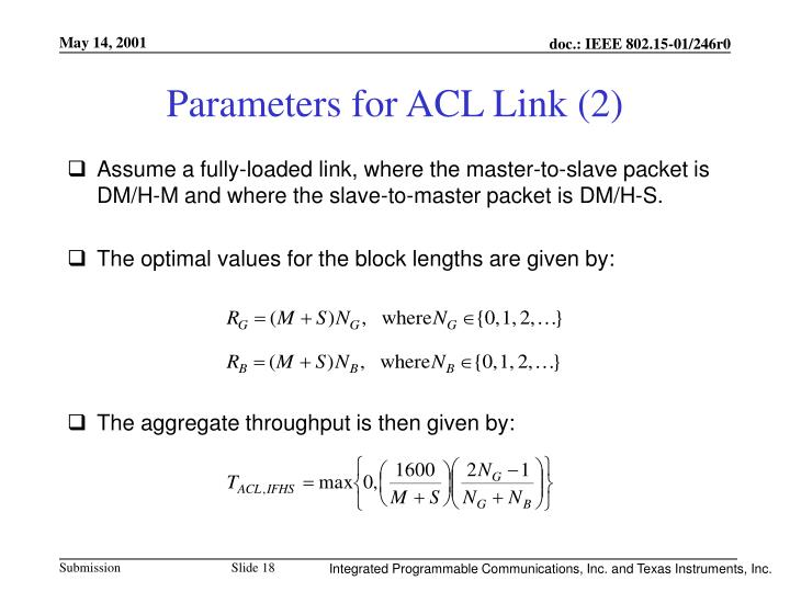 Parameters for ACL Link (2)