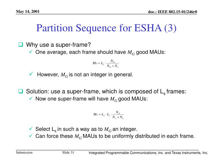 Partition Sequence for ESHA (3)