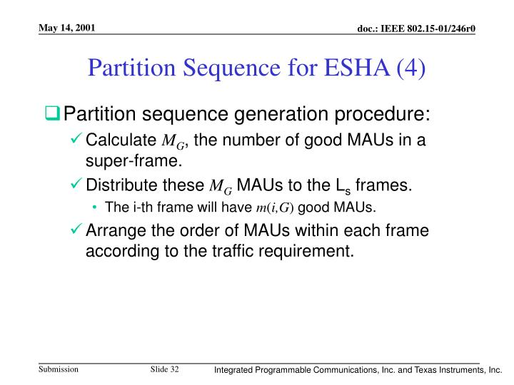 Partition Sequence for ESHA (4)