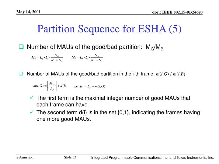 Partition Sequence for ESHA (5)