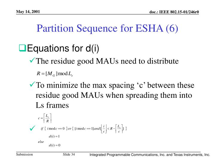 Partition Sequence for ESHA (6)