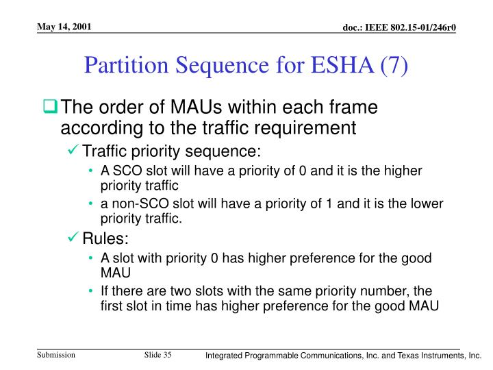 Partition Sequence for ESHA (7)