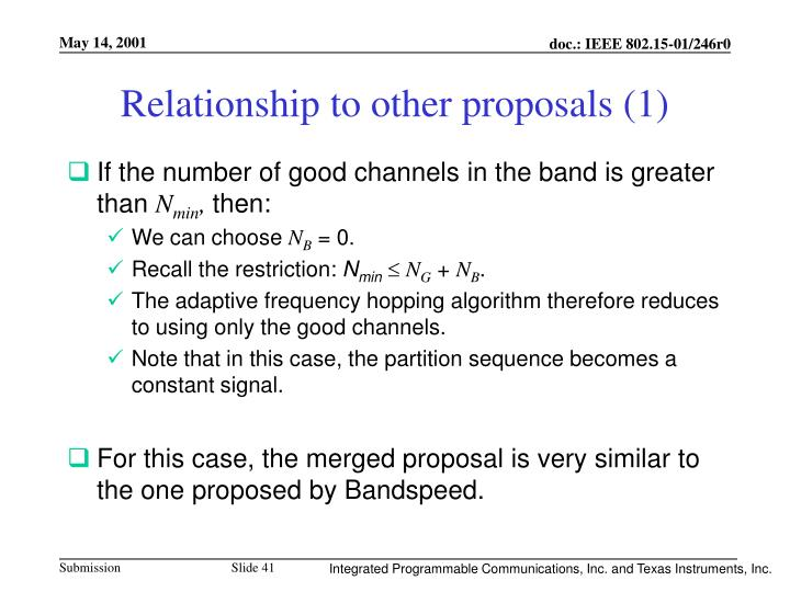 Relationship to other proposals (1)