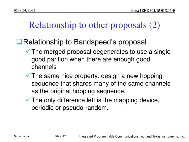 Relationship to other proposals (2)
