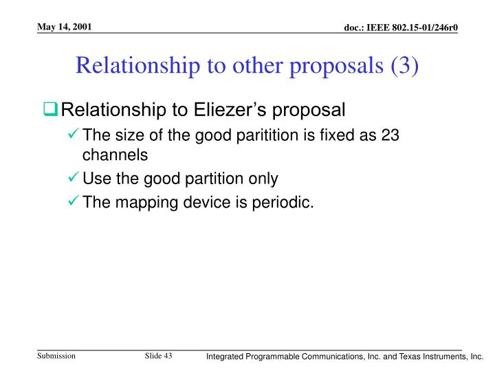 Relationship to other proposals (3)