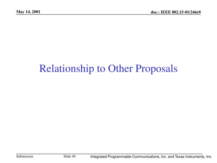 Relationship to Other Proposals