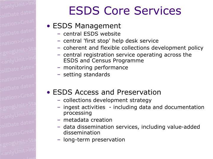 ESDS Core Services