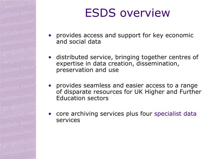 ESDS overview