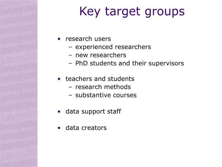Key target groups