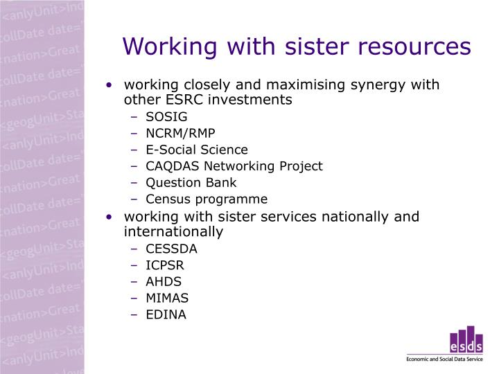 Working with sister resources