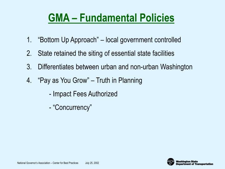 GMA – Fundamental Policies