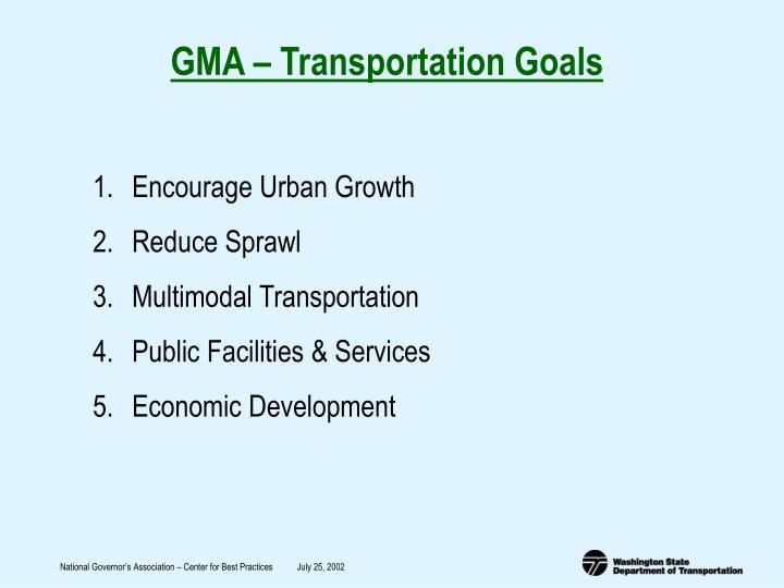 GMA – Transportation Goals