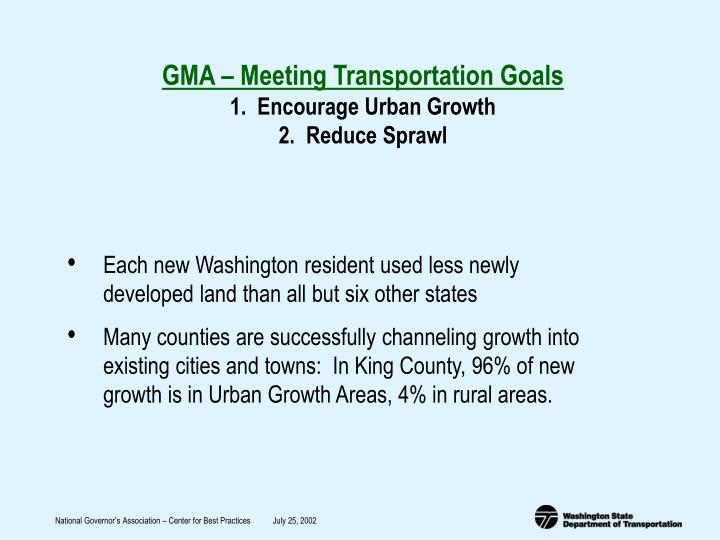 GMA – Meeting Transportation Goals