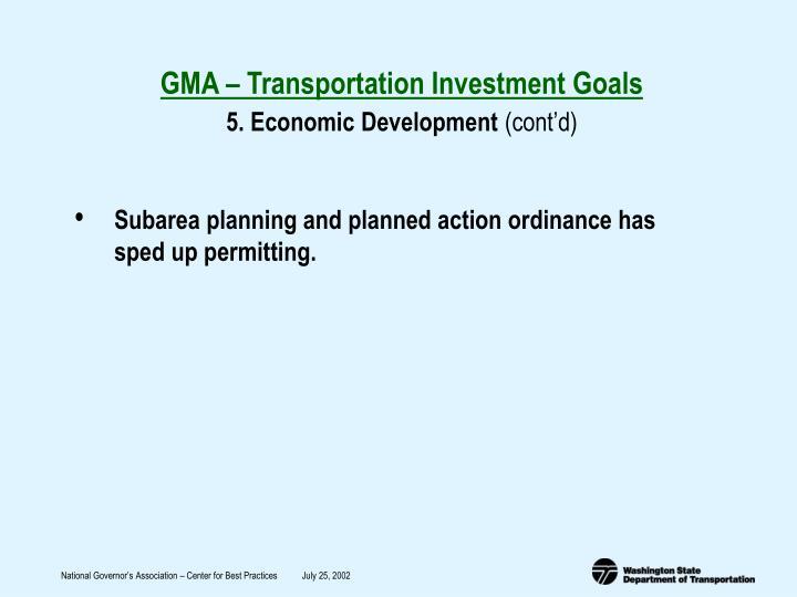 GMA – Transportation Investment Goals