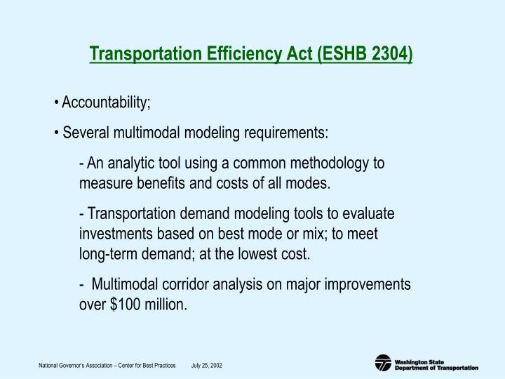 Transportation Efficiency Act (ESHB 2304)