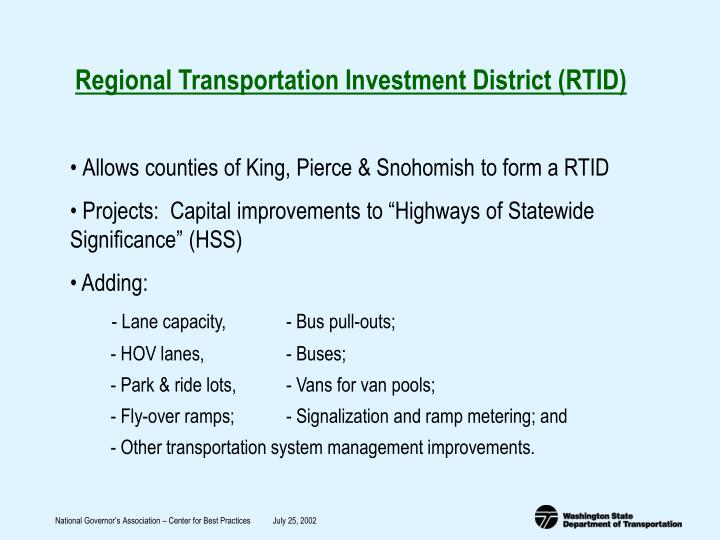 Regional Transportation Investment District (RTID)
