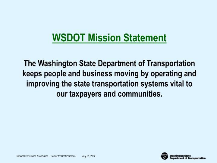WSDOT Mission Statement